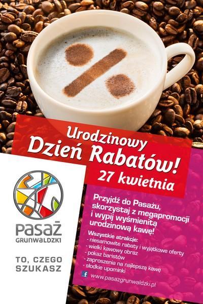 Pasaż Grunwaldzki zaprasza na urodzinową kawę irabaty
