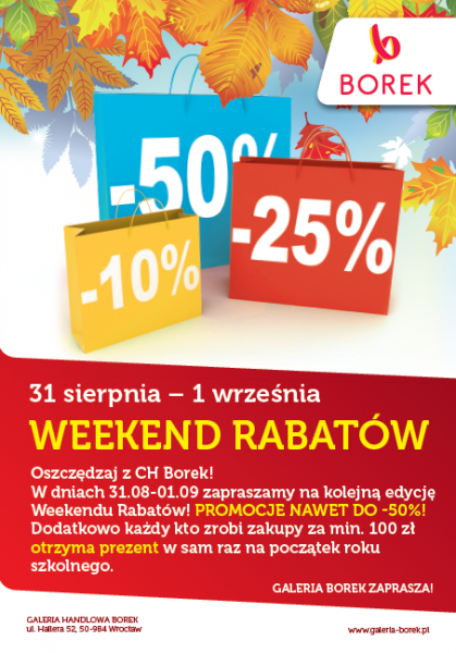 Weekend Rabatów wCentrum Handlowym Borek