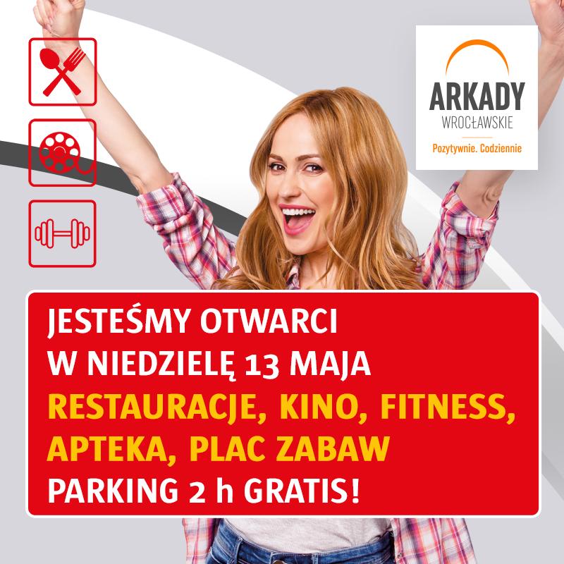 Arkady Wrocławskie zapraszają wniedzielę niehandlową 13 maja