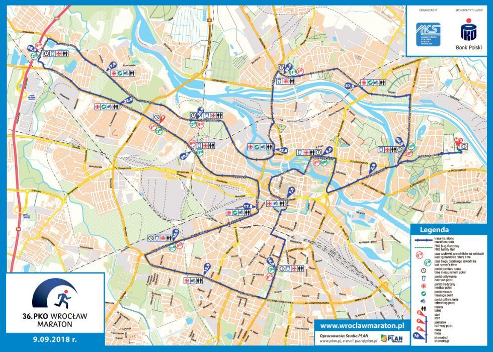 36. PKO Wrocław Maraton - informacje outrudnieniach