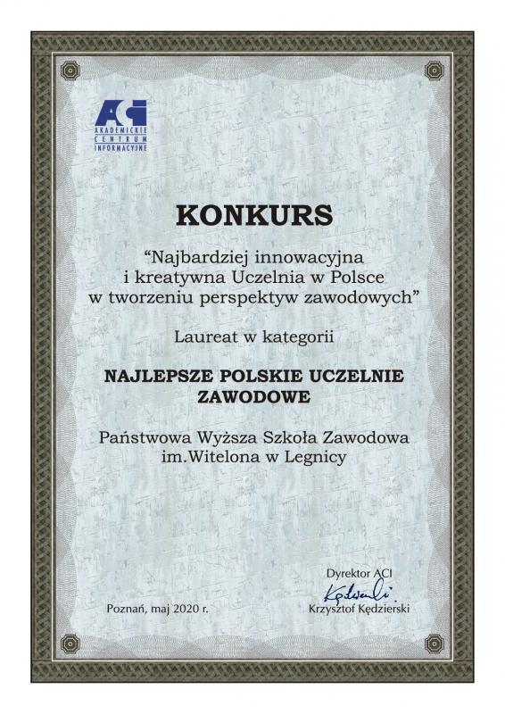 PWSZ im. Witelona wLegnicy Najlepszą Uczelnią Zawodową wPolsce