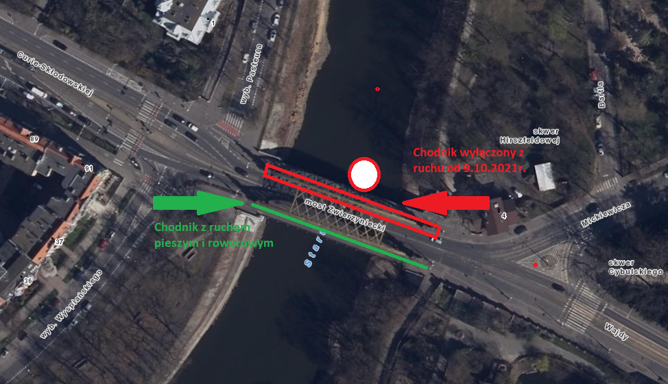 Rozpoczyna się renowacja mostu Zwierzynieckiego – odsoboty chodnik po stronie północnej wyłączony zruchu
